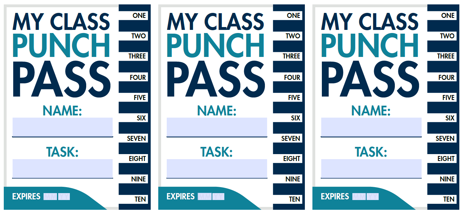 Free, downloadable punch passes for students