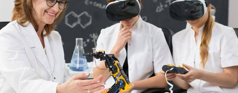 Students wearing VR headsets