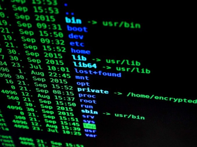 Code on screen at cyber security job