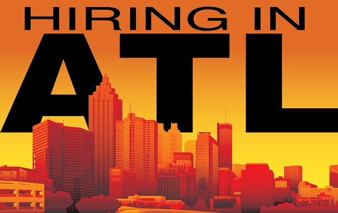 "Graphic with the Atlanta skyline and text saying ""Hiring in ATL."""