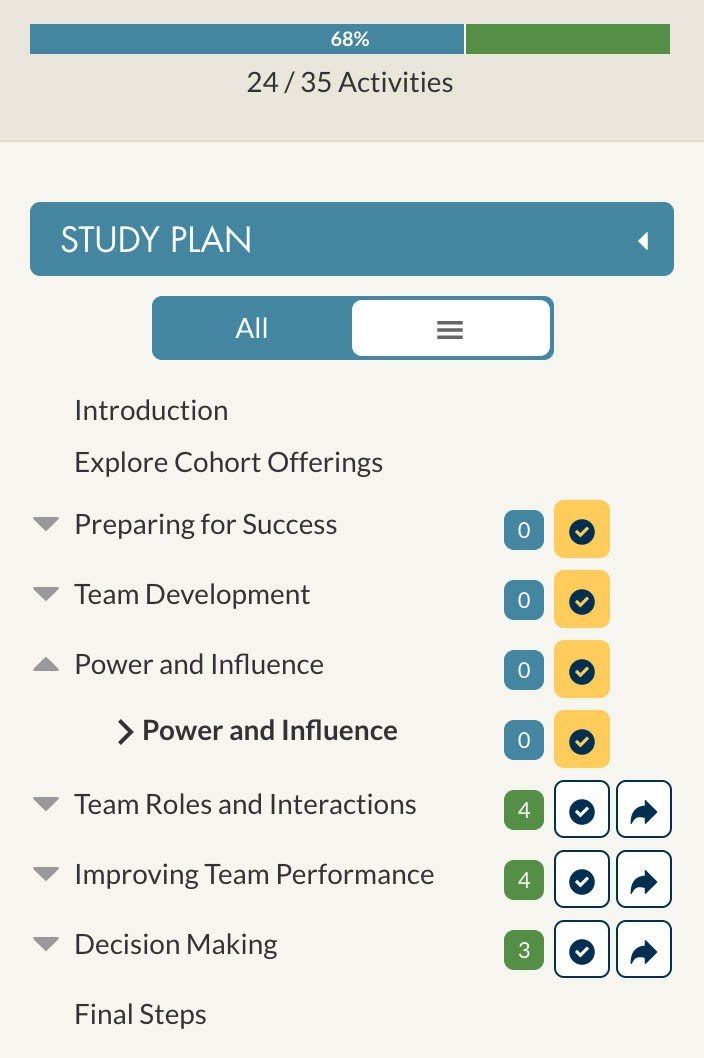 View of WGU course study plan.