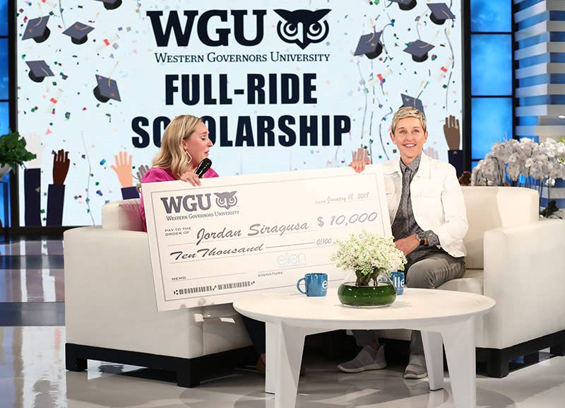 Ellen DeGeneres gives teacher  Jordan Siragusa $10,000 scholarship from WGU