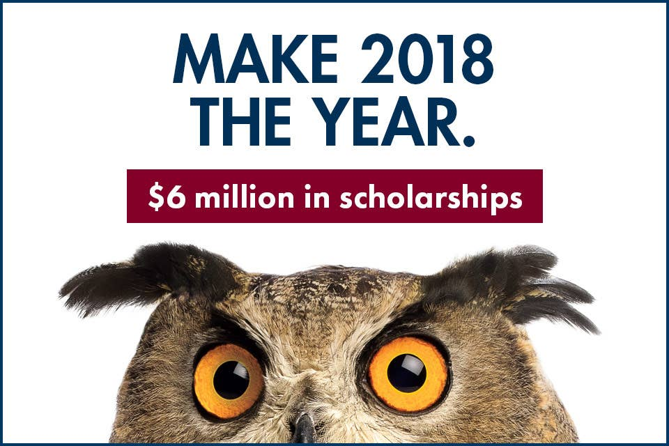New Year. New Degree. New Opportunities. Learn more about the $6 million in scholarships for new students in 2018