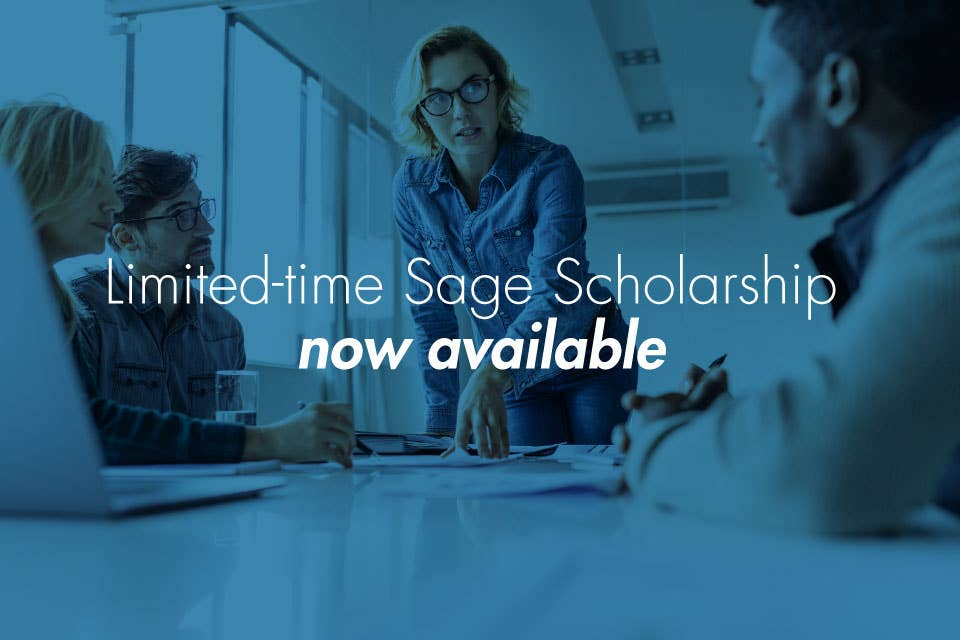 Sage Scholarship, available to WGU business students, bachelor's and master's degrees