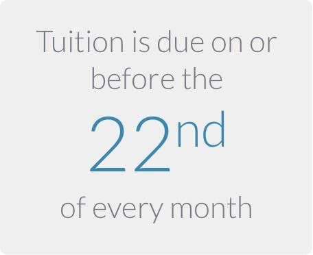 Tuition is due on or before the 22nd (twenty second) of every month