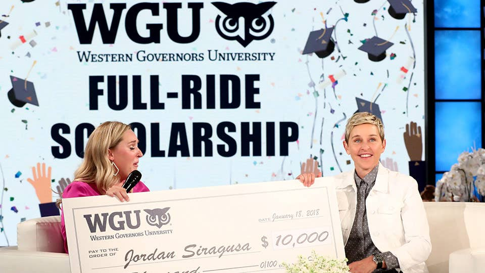 Ellen DeGeneres Show awards woman $10,000 full-ride scholarship check to return to school at WGU for her teaching degree