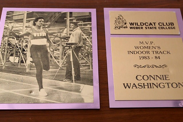 Plaque of Connie Washington named Women's Indoor Track M.V.P. 1983-1984