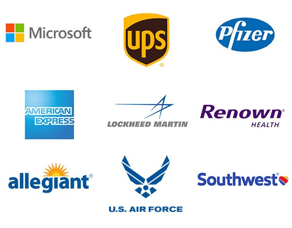 WGU Graduates hold positions with major employers like Microsoft, UPS, Pfizer, American Express, U.S. Airforce, Lockheed Martin, Renown Healthcare, Southwest Airlines