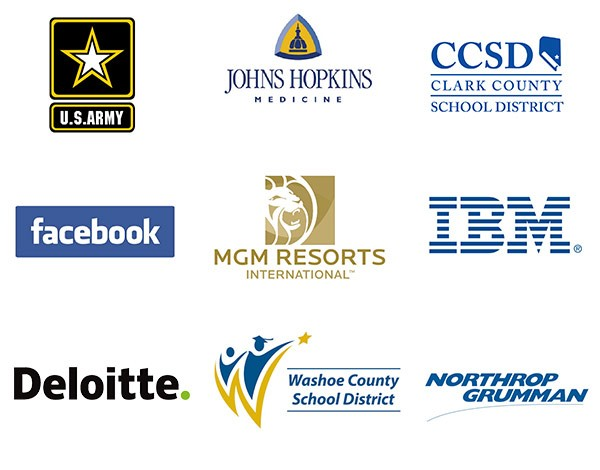 WGU Graduates hold positions with major employers like Johns Hopkins, Clark County School District, MGM Grand Resorts, IBM, Deloitte, Facebook, Washoe County School District, Northrop Grumman