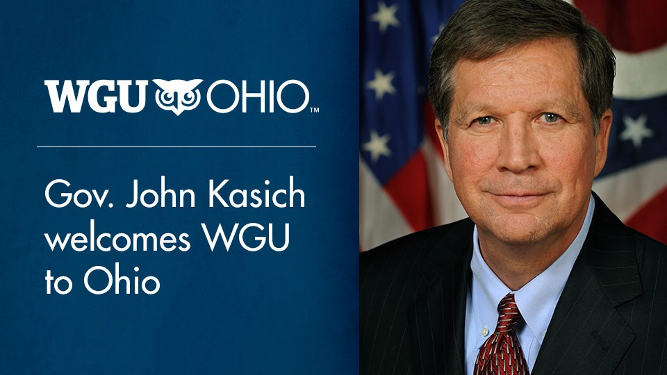Ohio Governor John Kasich speaks in support of Western Governors University