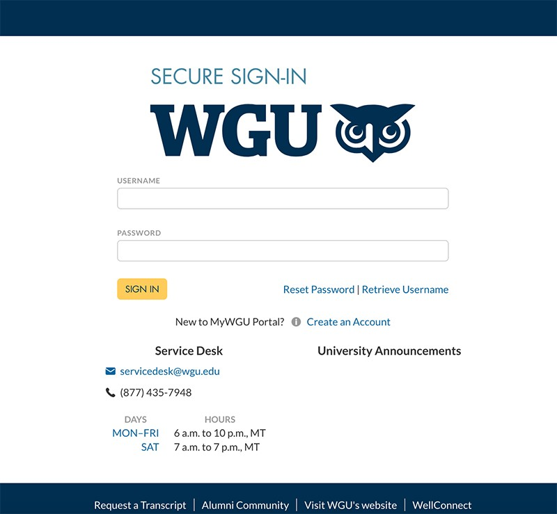 Student portal example